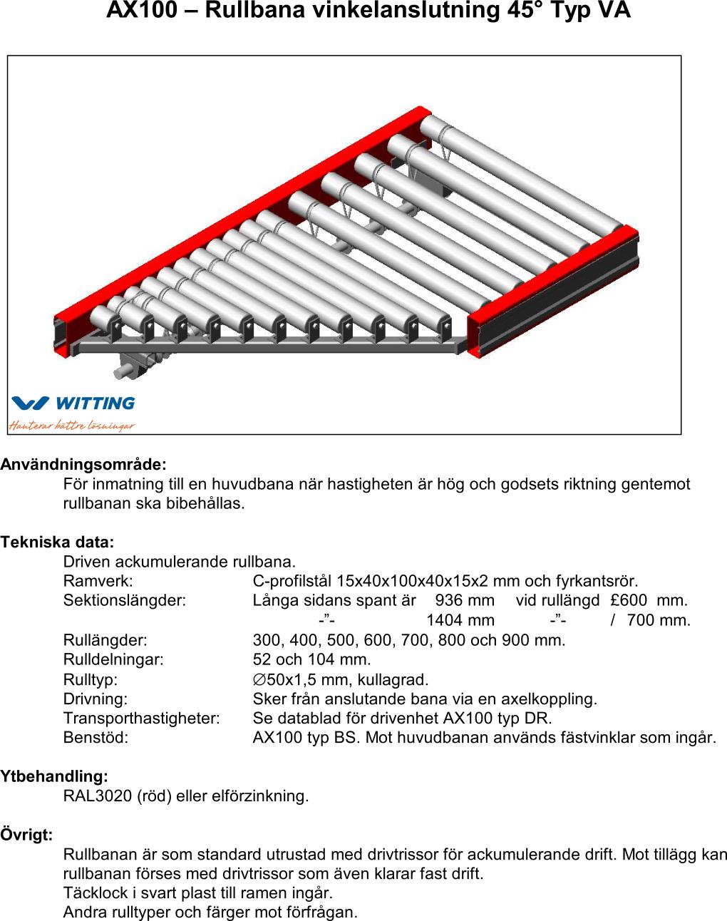 AX100 – Rullbana vinkelanslutning 45° Typ VA