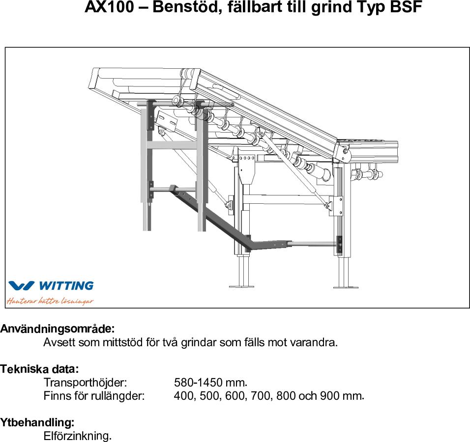 AX100 – Benstöd, fällbart till grind Typ BSF