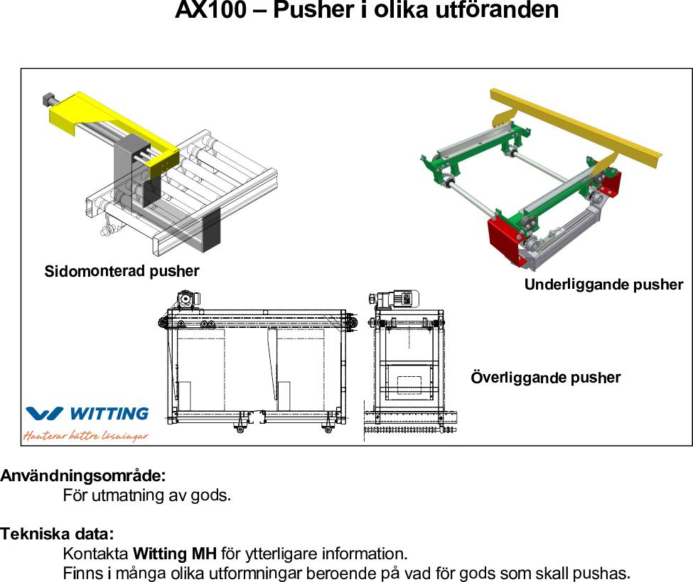 AX100 – Pusher i olika utföranden