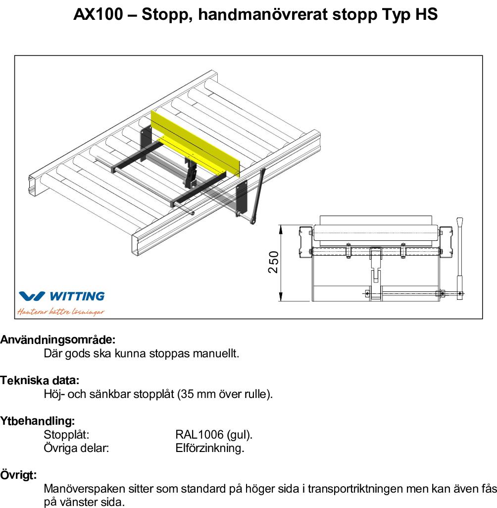 AX100 – Stopp, handmanövrerat stopp Typ HS