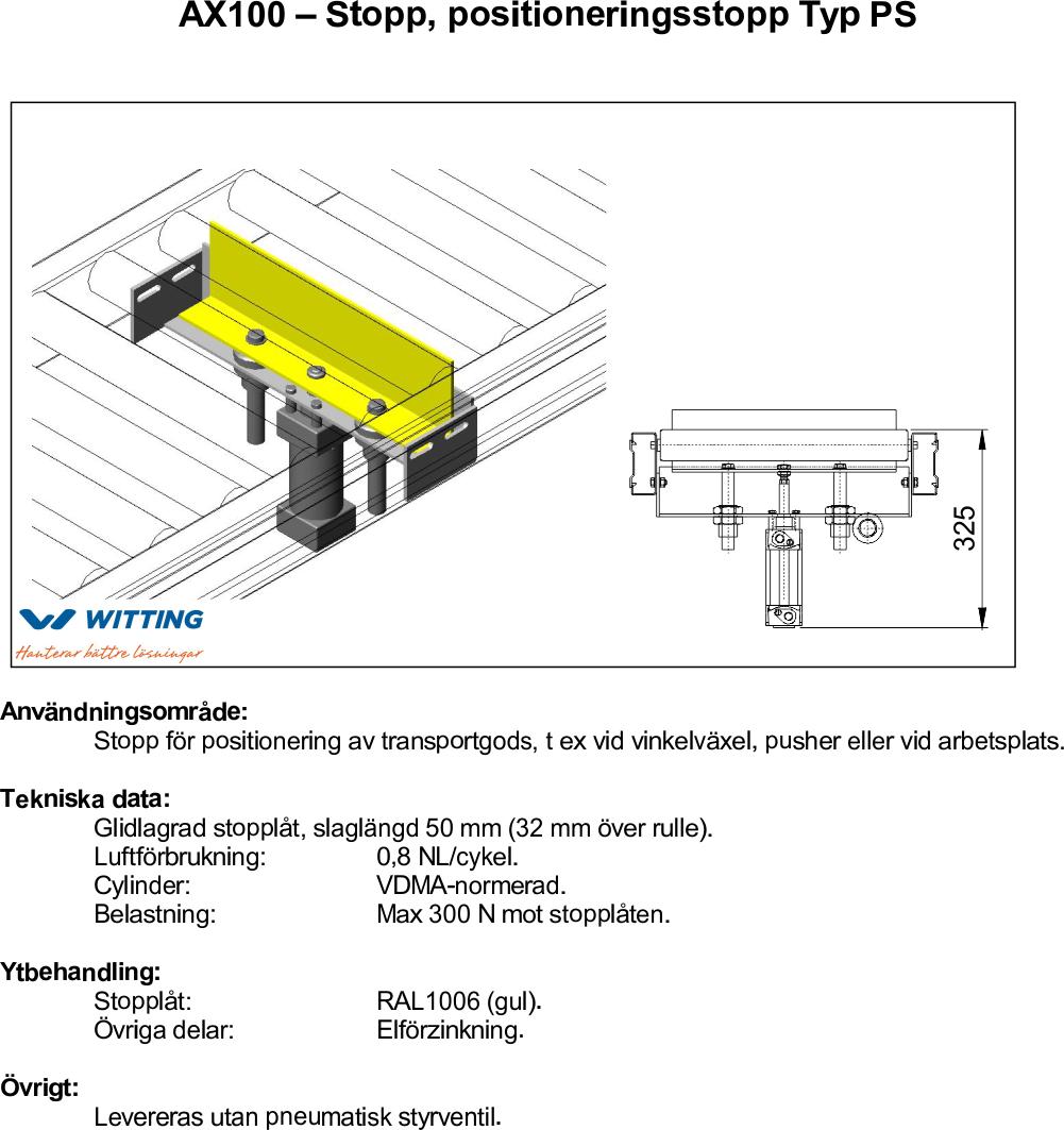 AX100 – Stopp, positioneringsstopp Typ PS
