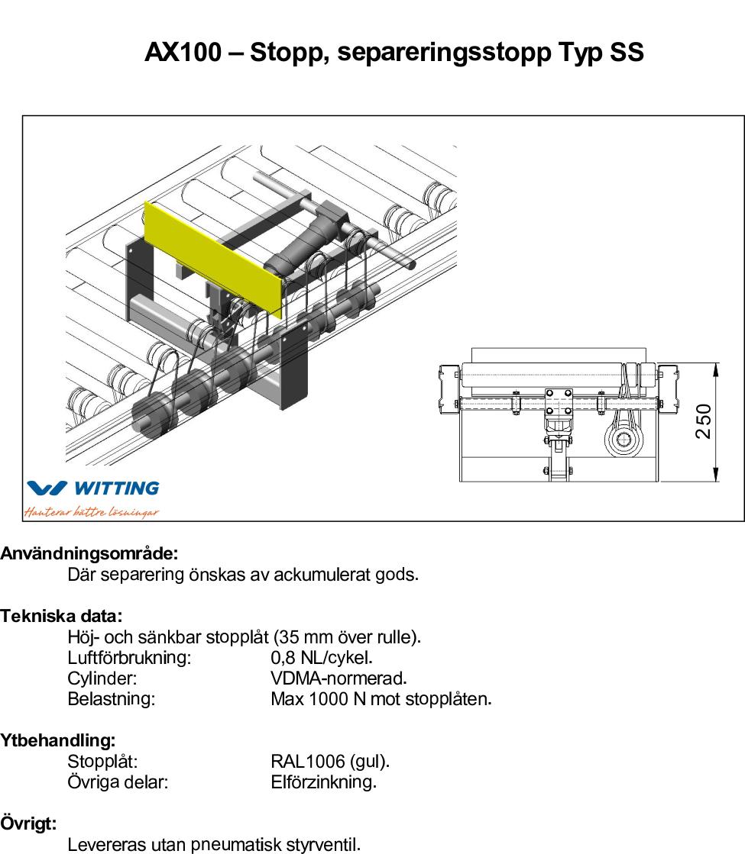 AX100 – Stopp, separeringsstopp Typ SS