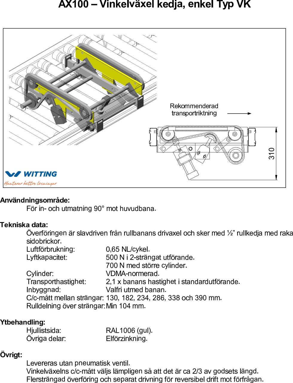 AX100 – Vinkelväxel kedja, enkel Typ VK