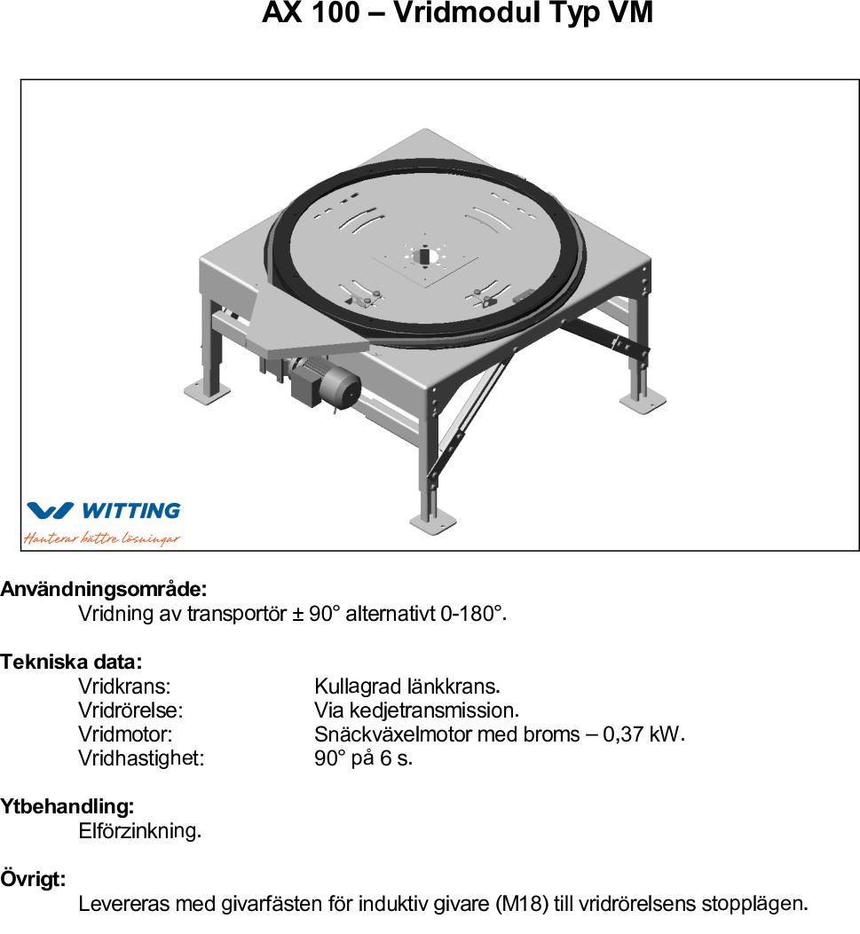 AX 100 – Vridmodul Typ VM