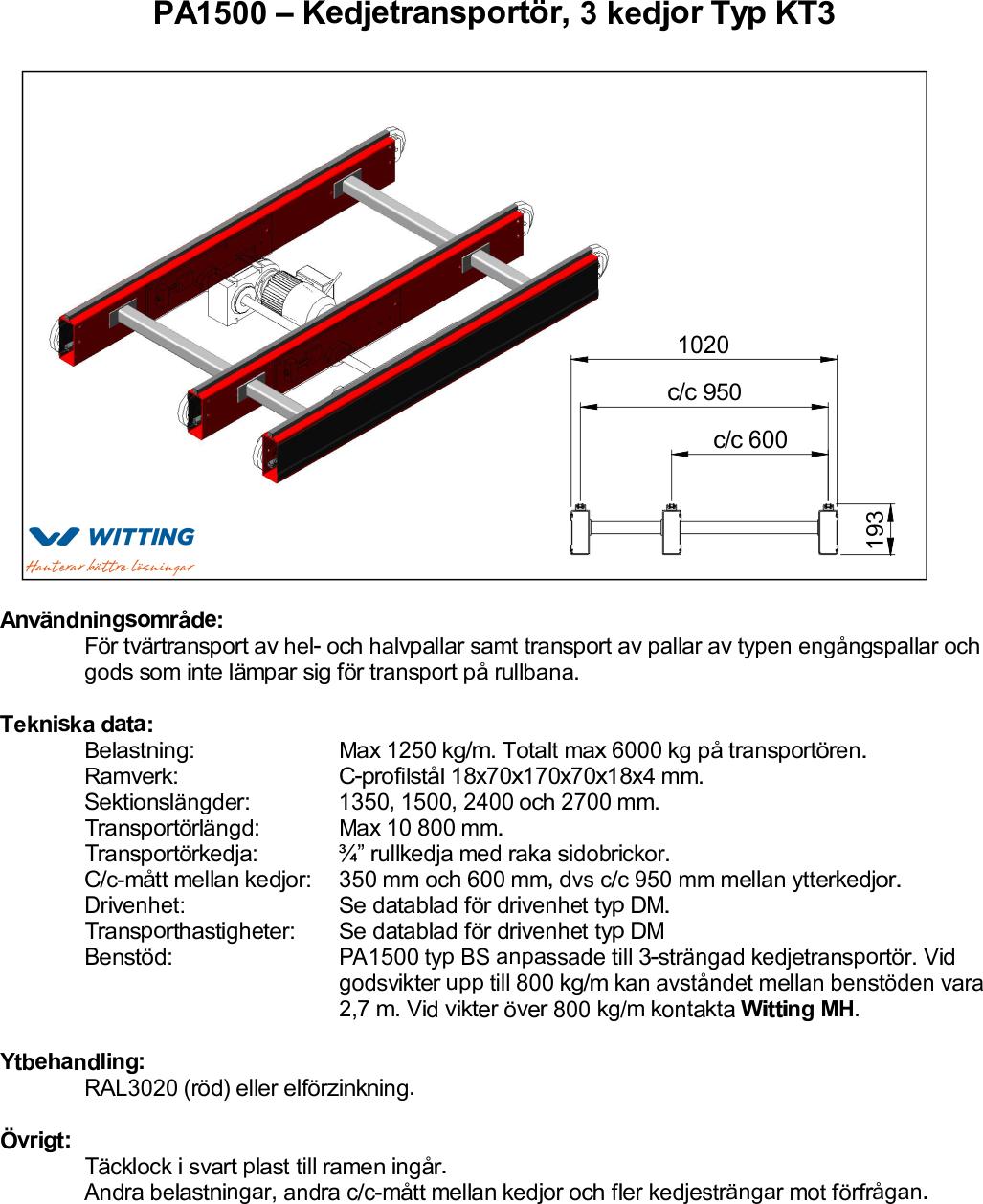 PA1500 – Kedjetransportör, 3 kedjor Typ KT3