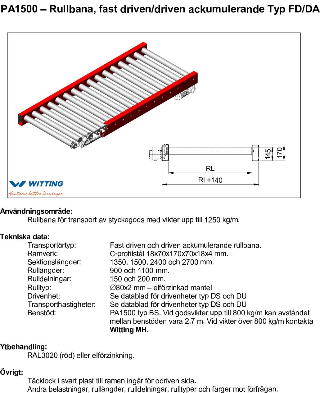 PA1500 – Rullbana, fast driven_driven ackumulerande Typ FD_DA