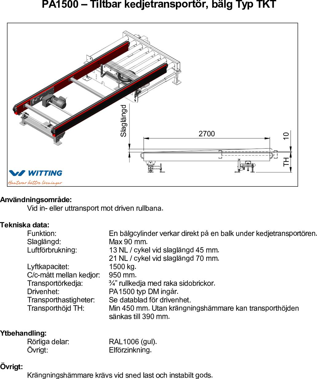 Tiltbar kedjetransportör, bälg Typ TKT